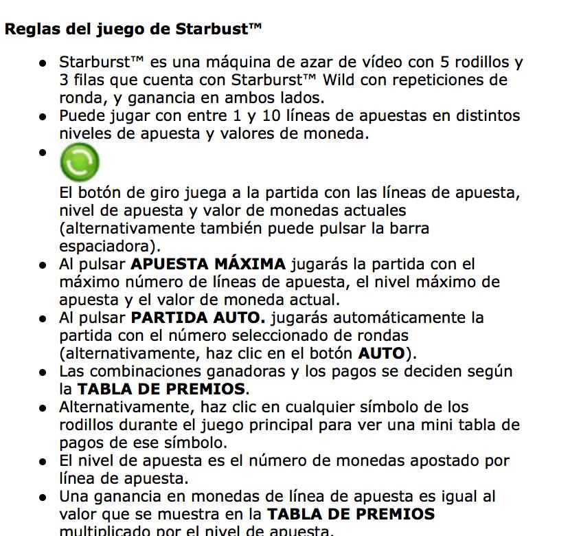 reglas starbust